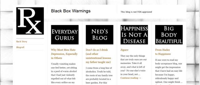 screen shot of black box warnings