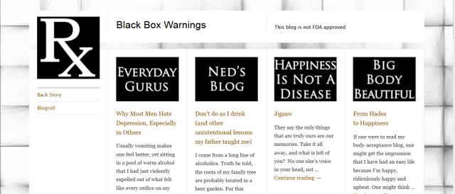 screen shot of black box warnings