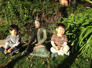 Jett and Fox with Buddha
