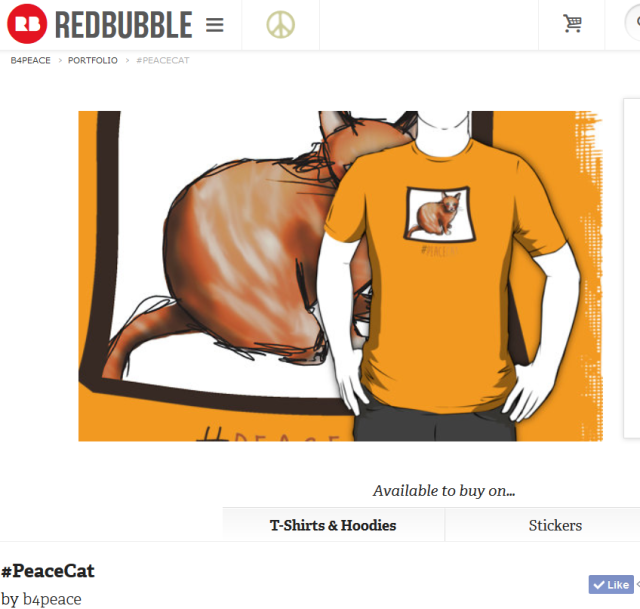 Peace Cat T-shirt at RedBubble