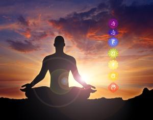 meditating in sunrise